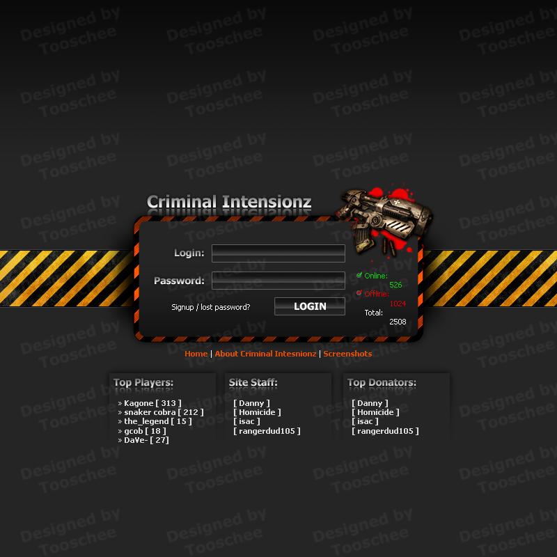 Criminal Intensionz Login Page